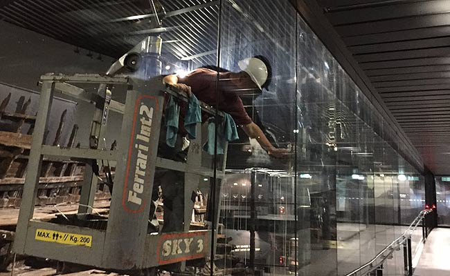 window cleaning at the mary rose museum in portsmouth